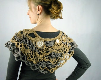 Capelet Poncho in Beige and Taupe, Freeform Crochet - Wearabe Art - OOAK