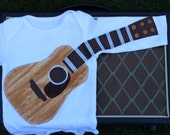Delightfully Fun Guitar Outfit / Real Wood Look / Guitar Bodysuit / Musical Gift / Play Outfit / Guitar Gift / Baby Clothes /Acoustic Guitar