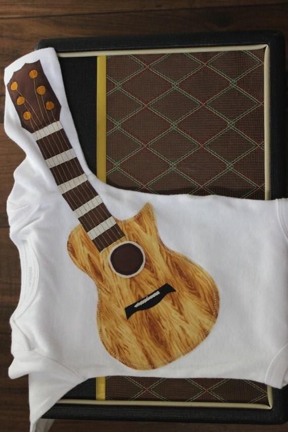 Rockin' Guitar Bodysuit With Koa Wood Inspired Grain and Gold Strings / Guitar Bodysuit / Musical Gift / Baby Shower Gift / Air Guitar/ Baby