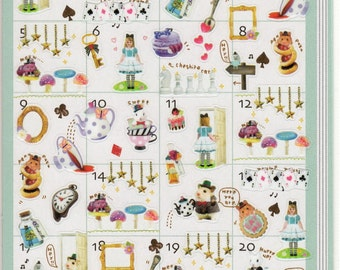 Japan  kawaii Petit Life sticker sheet-WONDERLAND/Alice,Diary,Schedule