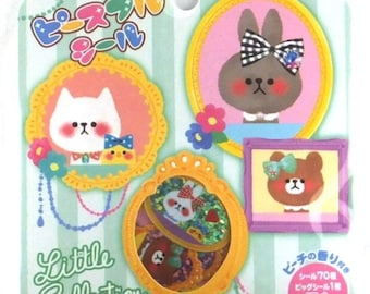 Japan Kawaii Rabbit bear LITTLE COLLECTION 71pcs stickers flake/mind wave