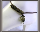 Faith Anklet,  Brown Satin Cord,  Antique Brass Charm, Foot Jewelry, Body Jewelry, Anklet,  Lobster Claw clasp,  extender Item #464