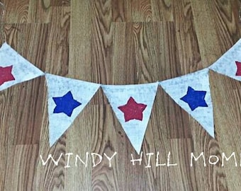 Patriotic Red White and Blue Stars Burlap Banner