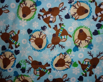 Winter Deer Flanel Fabric by the Yard