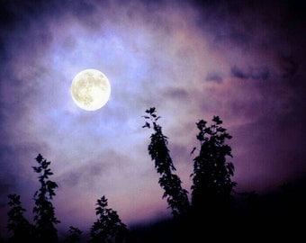 Full Moon Print, Moon Print, Moon Photo, Full Moon Picture, Purple Moon Photo, Dreamy Moon Print, Moon Theme