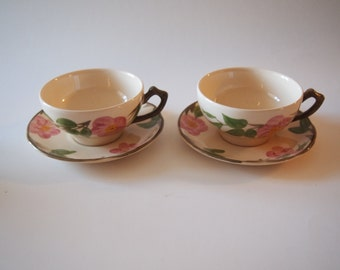 Set of Two Franciscan Desert Rose Cup and Saucers