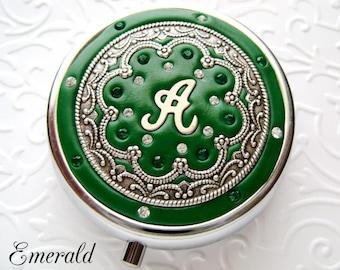 Emerald Green Bridesmaid Bridal Gift Custom Personalized Pill box/ Mint Box, lip gloss container with Swarovski Crystals