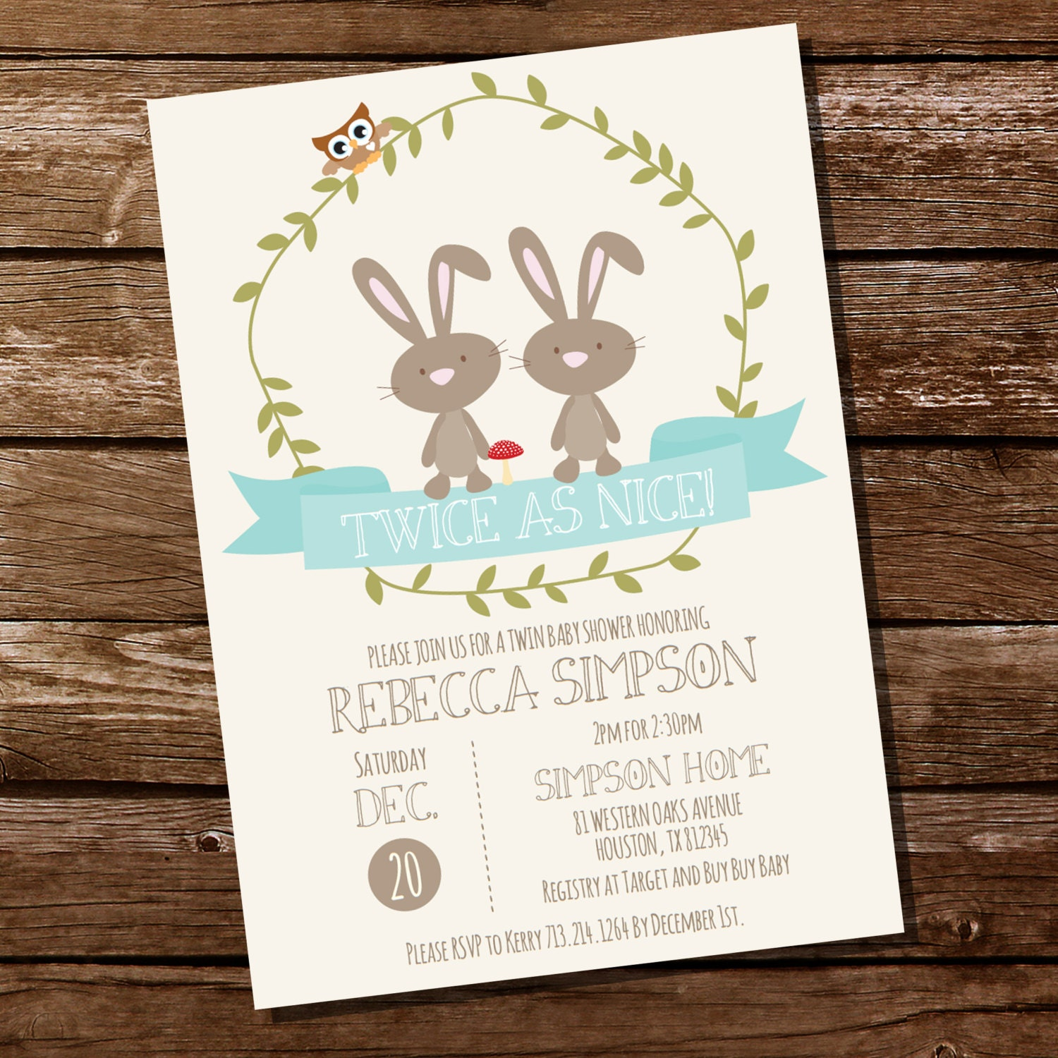 twin bunny baby shower invitation for a boy or girl