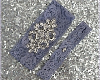 Wedding Garter Set - GREY Lace SILVER Rhinestone Crest Show & Dual Stud Toss - other colors available