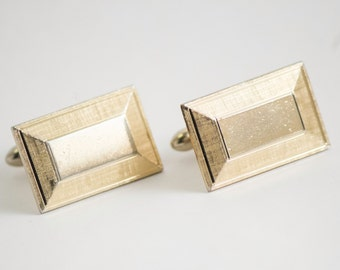 Vintage Cufflinks- Classic Gold Toned Metal Square Cuff Links , Winter Formal Wedding For Him, For Dad, Hipster Gift
