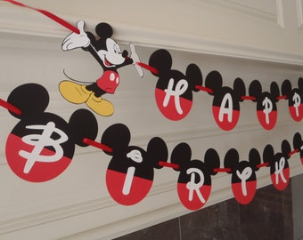 Mickey Mouse Birthday Banner Fancy Font with Age and Custom Name Option by FeistyFarmersWife