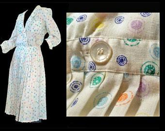 Vintage 1980s Dress Polka Dot Secretary Dress Large