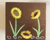 SUNFLOWERS DECOUPAGE BOX - Decorated Jewelry Box Trinket Box