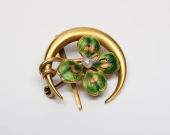 Victorian 10k Enameled Clover and Crescent Moon Brooch - Pin - Watch Hanger