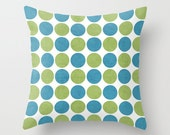 Folk Blue and Green Dots Throw Pillow - Geometric Pillow - Modern Decor - Throw Pillow - Urban Decor - by Beverly LeFevre
