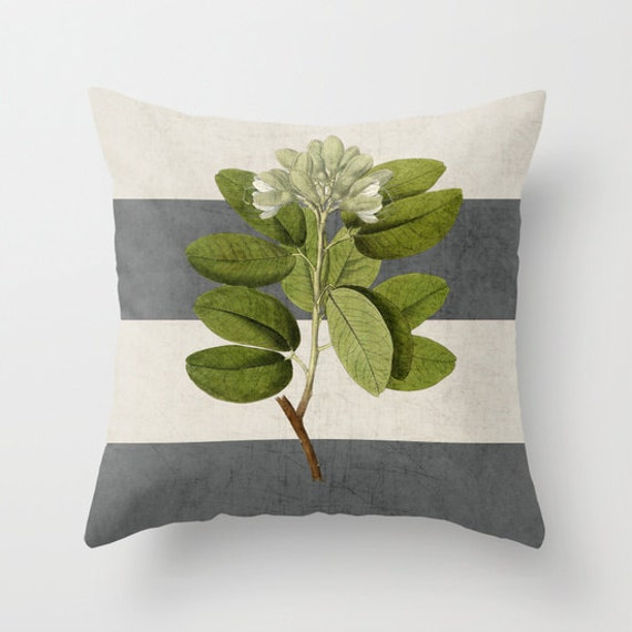 Modern Botanical Pillow : Botanical Stripes 5 Gray Throw Pillow Geometric Pillow