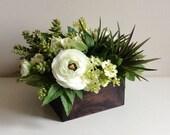 Artificial Floral Succulent Arrangement / Centerpiece / Faux Flowers / Succulents / Green / Brown / White / Ivory