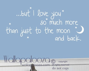 I love you to the moon and back wall decal - nursery wall decal - i love you decal