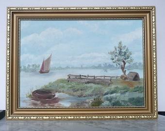 Original landscape painting oil on cardboard signed E.R.