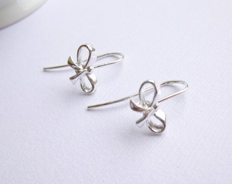 Sterling Silver Bow Earring Connectors -- Two Pieces -- 925 Fancy Earwires
