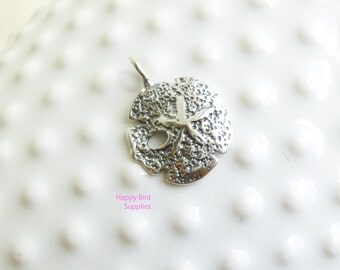 Sterling Silver Textured Sand Dollar Pendant -- 1 Piece