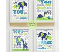 Baby Boy Nursery Decor You are My Sunshine My Only Sunshine Prints Elephant Giraffe Turtle Navy and Lime Wall Art