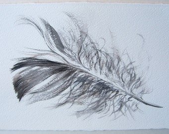 Black and White feather painting. Feather illustration. Small watercolor 7,5 by 11 Art Original Nursery art Watercolor painting by Klara