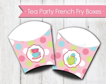 Tea Party French Fry Box- Instant Download
