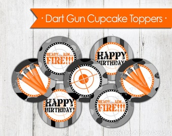 Gray and Black Dart Gun Cupcake Toppers - Instant Download