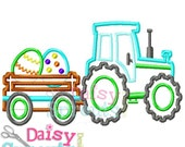 Tractor Pulling Easter Eggs Machine Applique