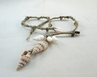 Wrapped Tribal Necklace, Flax Twine and Shell, Artisan Braided Necklace, OOAK