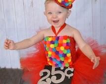 Gumball Costume, Candyland Dress, Gumball Machine, Gumball Dress, Pageant Dress, Red Tutu Dress, Rainbow Tutu Dress, Candy Dress, Red Tutu