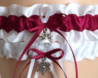 Wedding Garter Set, Bridal Garter Set, Wine/Burgundy Garter Set, Keepsake Garter,
