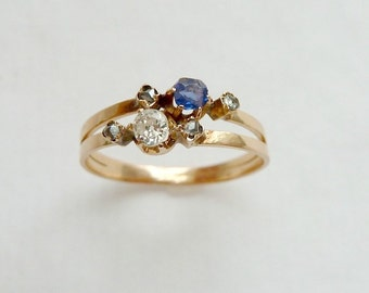 Gorgeous Antique French Diamond and Sapphire 18 ct Ring