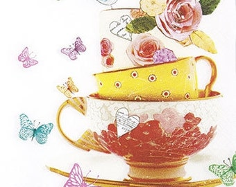 3 Tea Cups Art Decoupage paper Napkins, New German Desiner Paper Napkins for Decoupage, Mixed Media, Collage