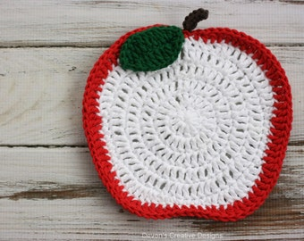 Red Apple Crochet Kitchen Dishcloth - 100% Cotton