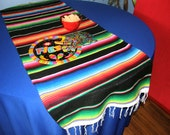 Who's Your Team? BLACK TABLE RUNNER Made from Mexican Serape Cloth - Striking Black with Bright Mexican Colors - Party time!
