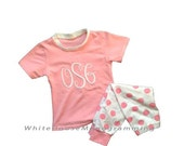 Monogrammed Short Sleeve Light Weight Childrens Pajamas