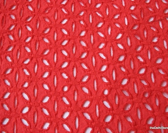 Eyelet Cotton Fabric Embroidered Cotton Fabric Yardage in Dark Coral Pink Color