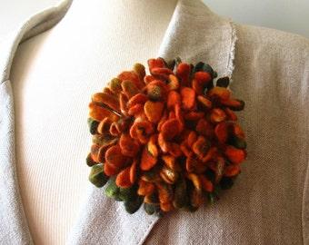 Hand felted Dahlia Felted flower brooch green orange Felt brooch Merino wool brooch Felt jewelry Ready to ship