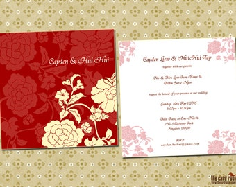 Deep Red Oriental Wedding Invite With Flowers - Printables