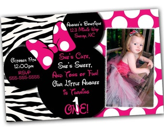 Minnie Mouse Invitation, Minnie Mouse Birthday, Pink Minnie Mouse invitations, Minnie Mouse party, Minnie Mouse Thank you card, Zebra