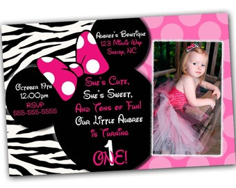 Pink Zebra Minnie Mouse invitations OR Thank you cards
