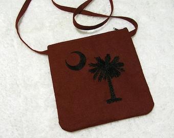 South Carolina Small Purse Crossbody Strap, Embroidered Palmetto Tree, Crescent Moon - Womens Shoulder Bag, Garnet & Black - Bags and Purses