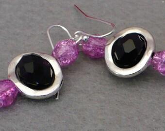 Violet purple and black bead earrings