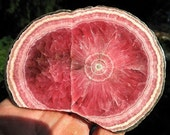 Excellent Patterned Rhodochrosite 4.5 inch across Polished both sides to glass