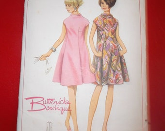 Vintage Sewing Pattern 4487 Size 12 One Piece Dress Bust 32 All 6 Pattern Pieces