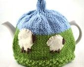 Sheep Tea Cozy One/Two Cup - Blue & Green Knit Tea Cozy OOAK - Sheep Decor Tea Cozy, Victoria BC Canada