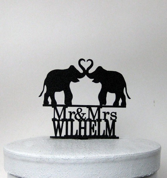 Personlaized Wedding Cake Topper Elephant Wedding topper
