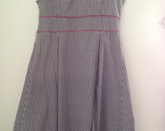 Vintage pin up rockabilly black red and white gingham dress size large xl
